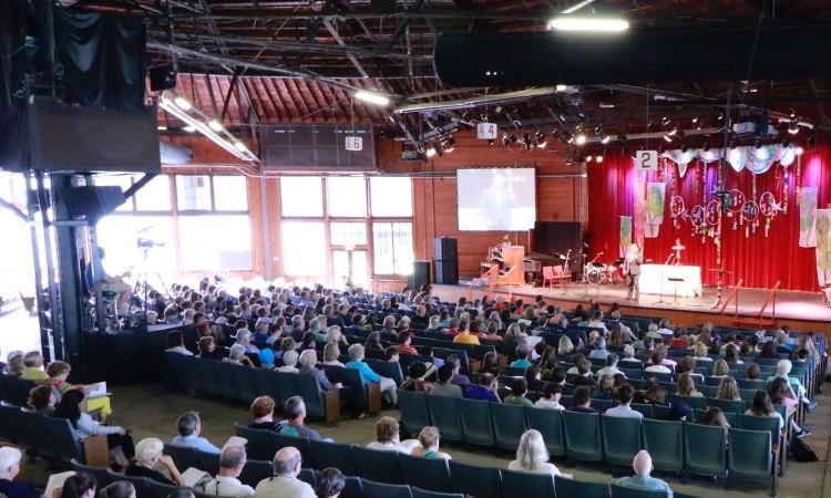 Morning worship at Stuart Auditorium